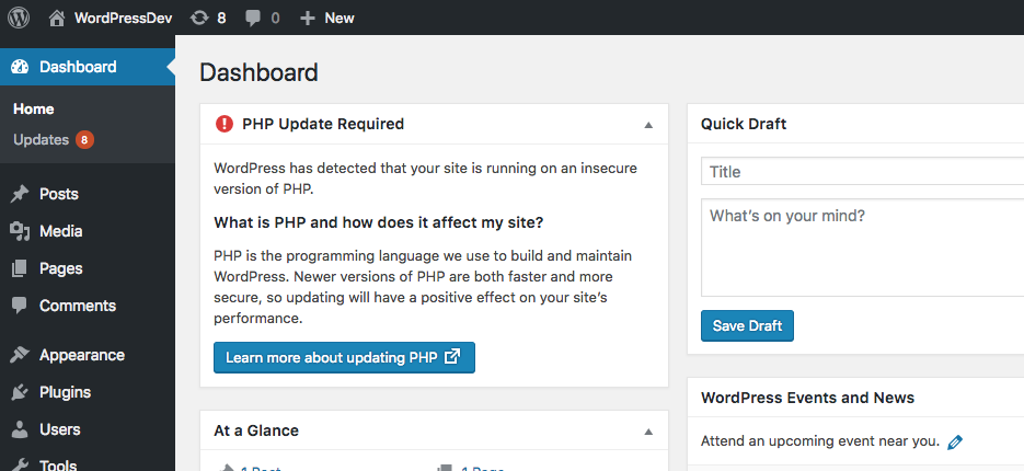 WordPress outdated PHP warning