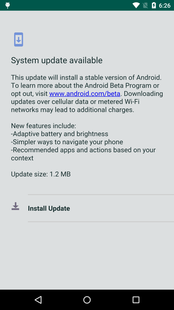 fake android system update