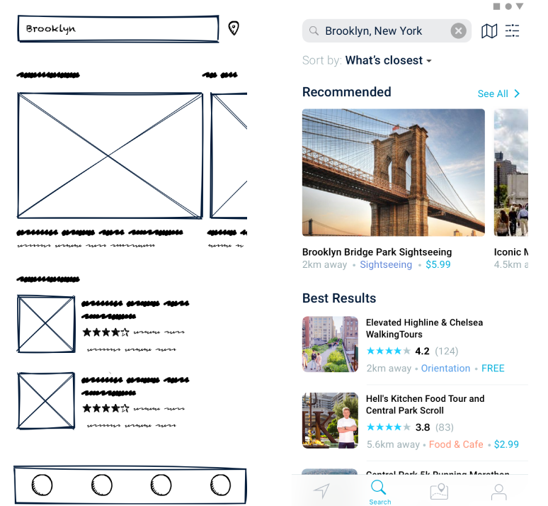 Wireframe to Finished App designs