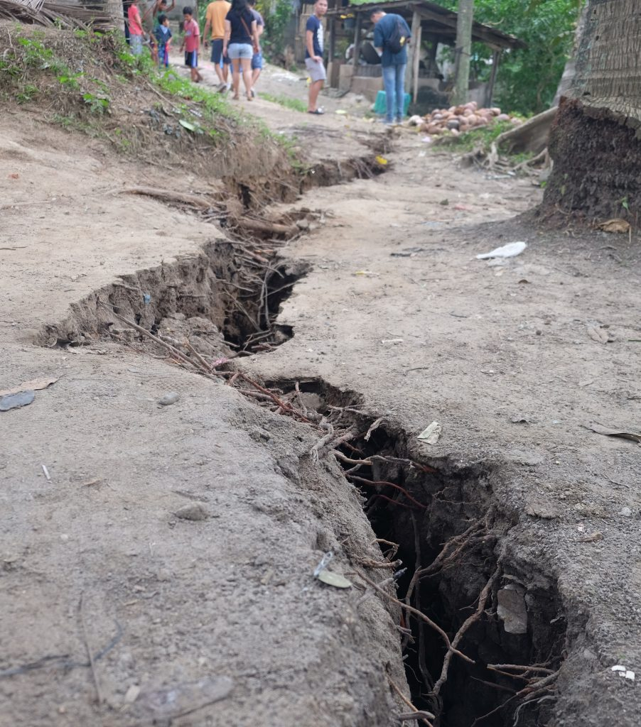 A surface rupture after the high-intensity Mindanao earthquakes