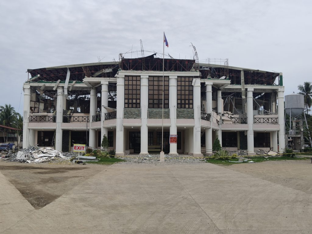 The municipal hall of Magsaysay in Davao del Sur after the spate of strong Mindanao earthquakes