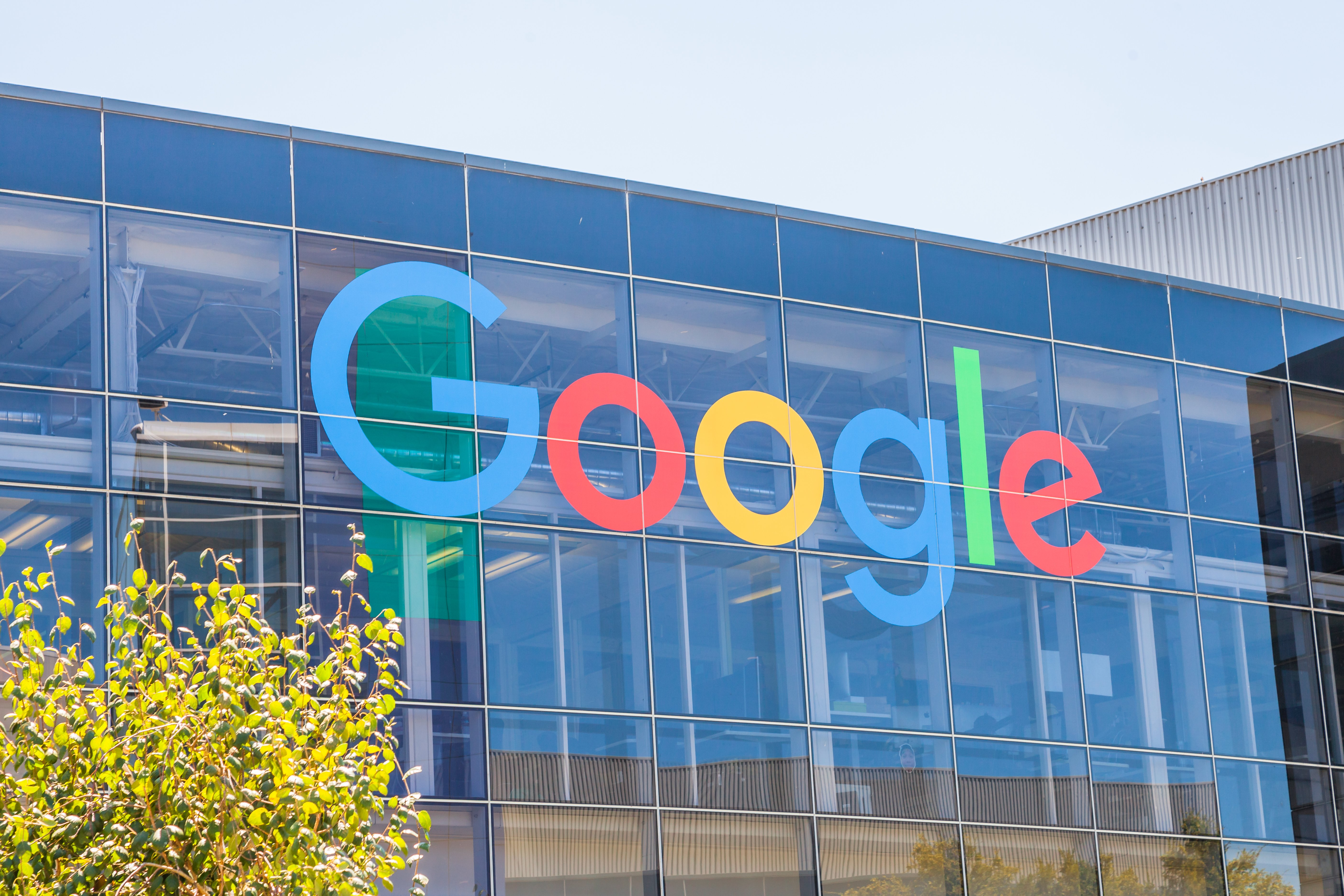 Close up of Google logo on one of its buildings. Image credit to: bennymarty - stock.adobe.com.